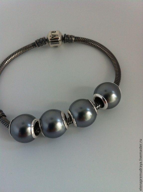 Купить Искуственные жемчужины для браслетов Pandora и Trollbeads - серебряный, жемчуг искусственный, серебро 925 пробы