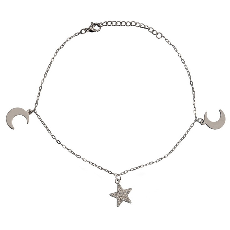 Women's Stainless Steel Anklets with Dangling Two Moon and a Crystal Star #anklets #jewelry #summer #stainlessteel