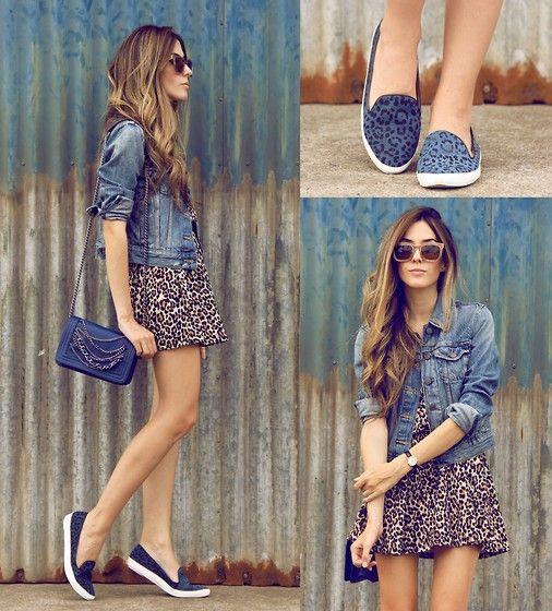 This denim jacket-leopard dress combo is spot on.  Oh Kei Dress, Iloveflats Shoes, Romwe Sunglasses, Levi's® Jacket via lookbook.nu