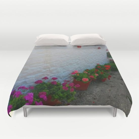 15% OFF+FREE SHIPPING ON EVERYTHING @society6 #Celebrate #om #Christmas2016 #society6 #giftshopping #christmasideas https://society6.com/product/geraniums-small-village-greece_duvet-cover#s6-6196212p38a46v343