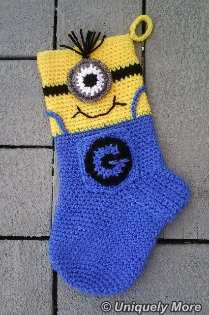 Minion Stocking pattern on Craftsy.com   I could totally figure something like this out based on any simple crochet stocking pattern...
