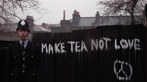 I've just decided I MUST have a tattoo of the Hell's Grannies' graffiti quote from Monty Python... Make Tea Not Love.  Then, someday, I will BE a granny, and it'll be so hilarious XD