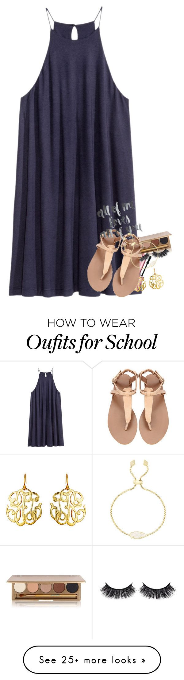 """When does school end for you?(June 21st)"" by haileymartin12 on Polyvore featuring H&M, Jane Iredale, Too Faced Cosmetics, Susan Shaw, Battington and Kendra Scott"