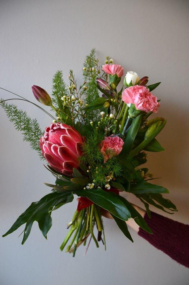 Original bouquet of #protea, #carnations and #ranunculus