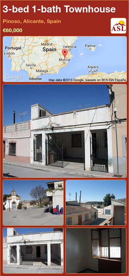 3-bed 1-bath Townhouse in Pinoso, Alicante, Spain ►€60,000 #PropertyForSaleInSpain