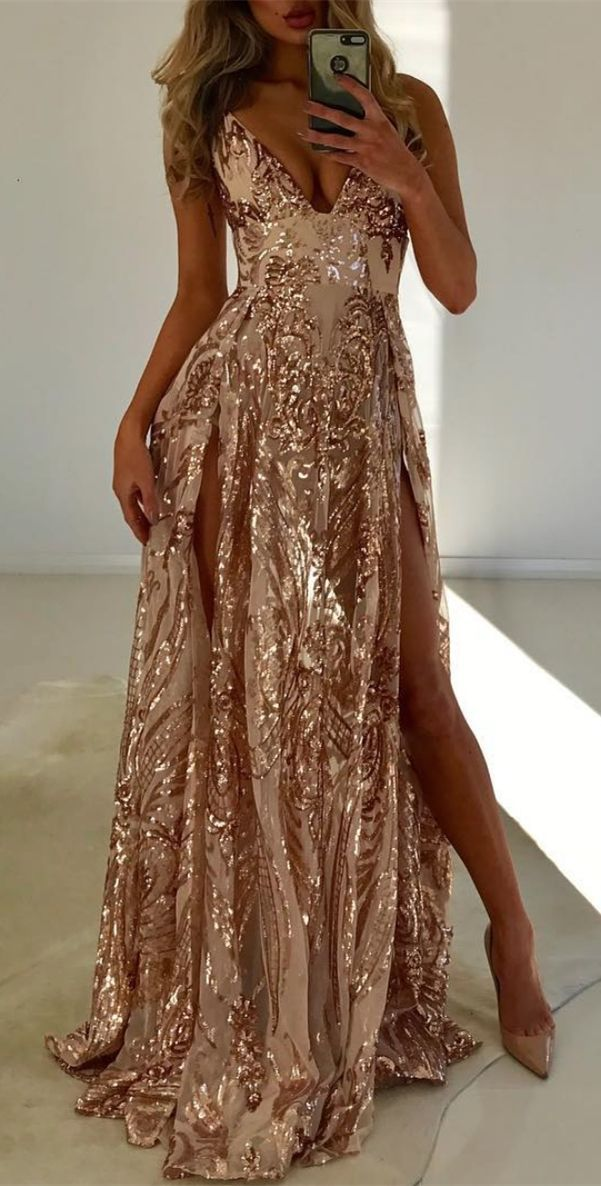553fd86620e1 stunning champagne sequins long prom dresses, sexy spagheti straps party  dress with split #prom #sexy #dresses