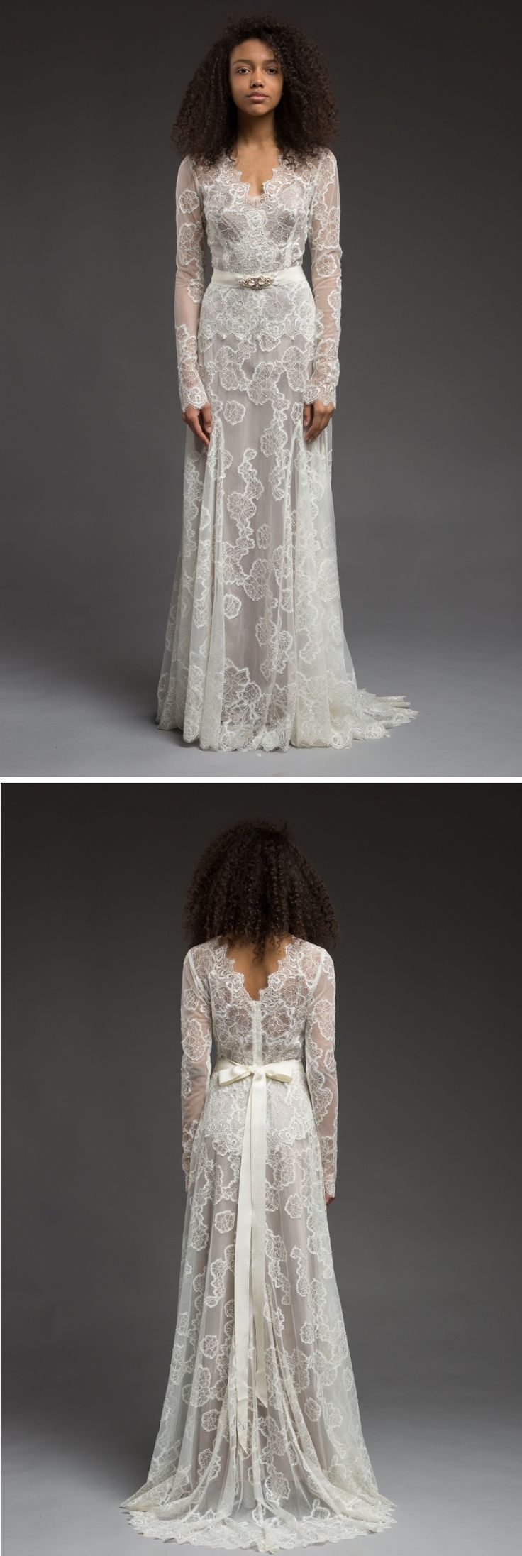 Delicate and feminine long sleeve lace wedding dress || Katya Katya Shehurina