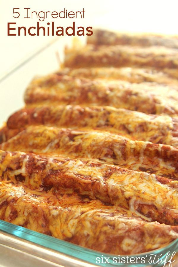 5 Ingredient Chicken Enchiladas on SixSistersStuff.com