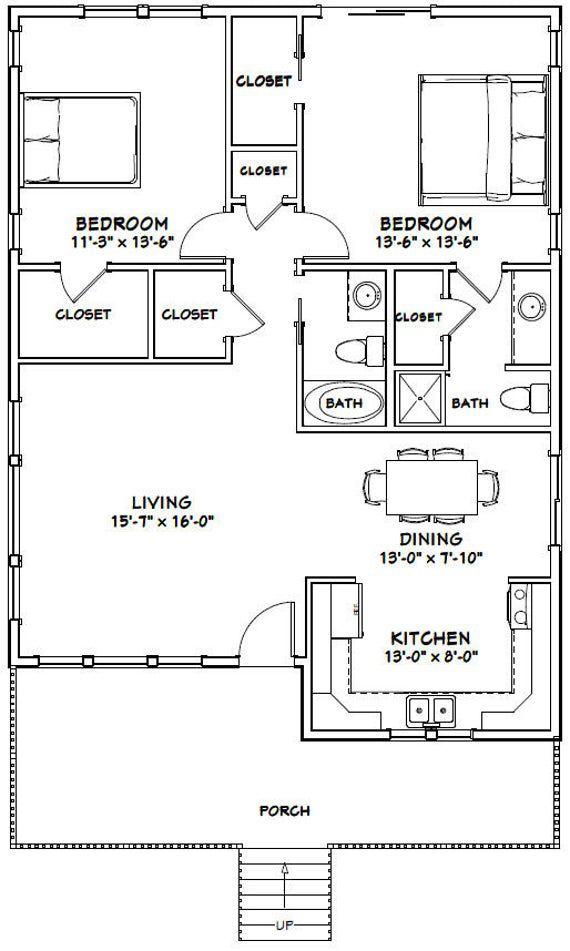 30x40 House -- 2-Bedroom 2-Bath -- 1,136 sq ft -- PDF ...