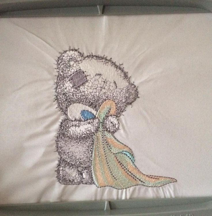 Tatty bear, available on baby vests, t-shirts and baby blankets. Let us know if you want one:)