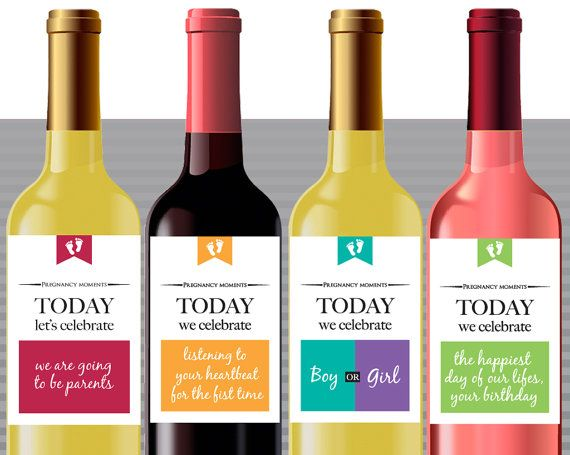 Milestones wine labels. Pregnancy announcement and by WineOnMe