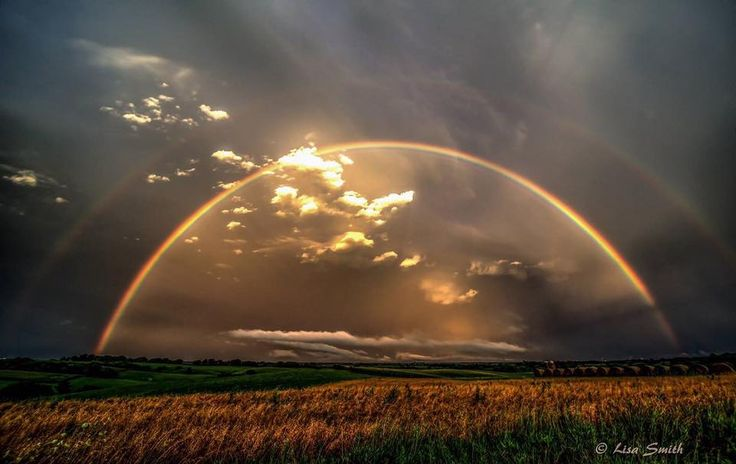 Wow!!! Serious double rainbow action over Clinton, Iowa. Picture credit to Lisa Smith.