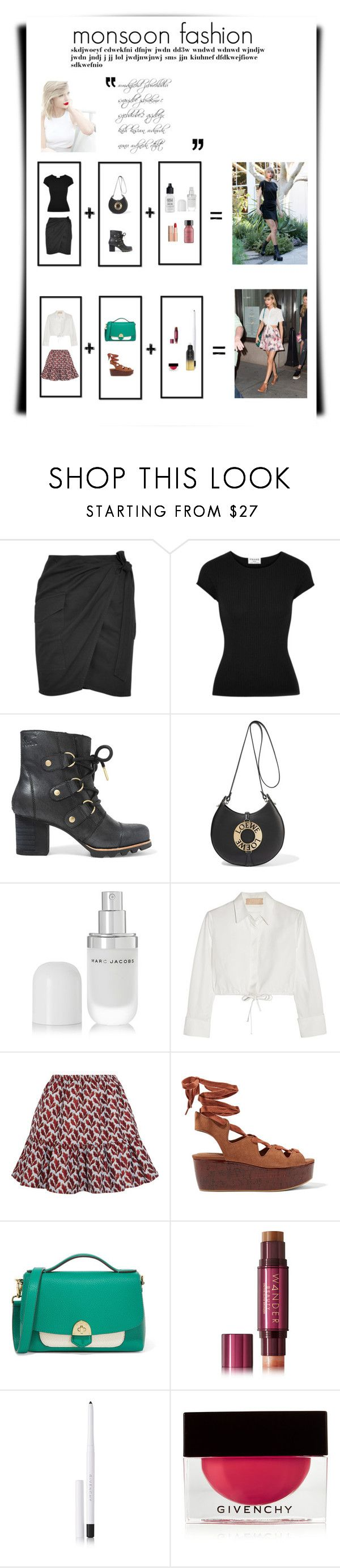 """""""monsoon layout"""" by teresaboban on Polyvore featuring Étoile Isabel Marant, Frame, SOREL, Loewe, Marc Jacobs, Alaïa, Philosophy di Lorenzo Serafini, See by Chloé, Mallet & Co and Wander Beauty"""