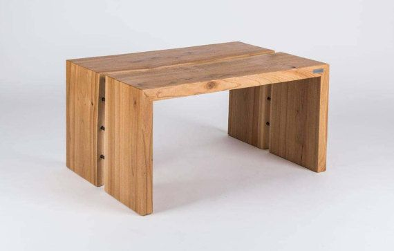 Bench / Table  modern design  steel and wood by SparkCraftWorkshop