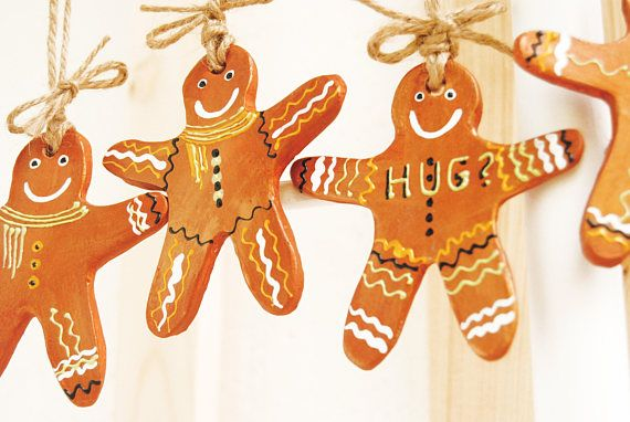 Set 6 Gingerbread man ornaments Rustic Farmhouse ornament
