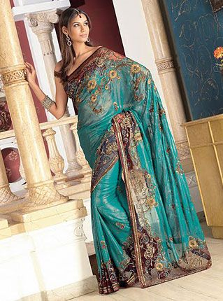 lovely turquoise # I love this. I have been wanting a Sari. Would love for someone to make me one...I don't sew.