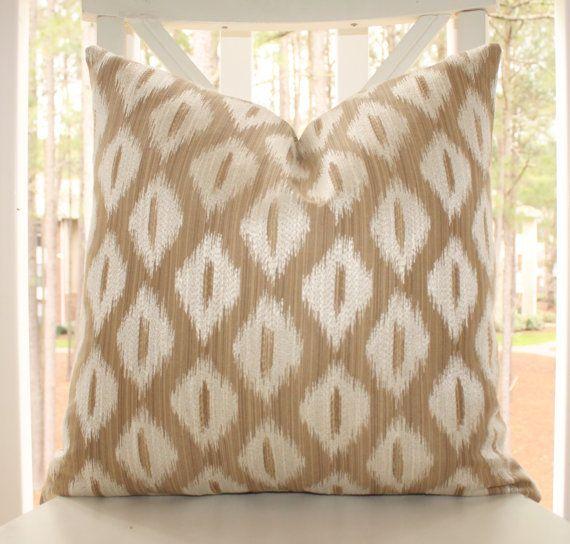 Designer Taupe Beige Ikat Pillow  Tan Ikat Diamond Geometric Pillow
