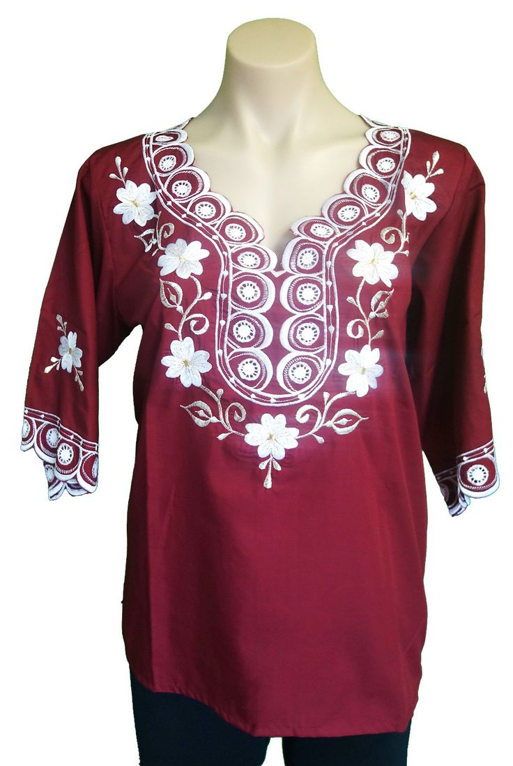 ON SALE Long Sleeve Mexican Embroidered blouse, Size M with lace inserts | WAS 80AUD by MexicanitaBoutique on Etsy
