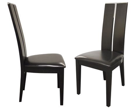 The Avanti Chair is a beautiful modern tall seat back dining chair. With a rectangular cut-out and chrome accent, this dining chair epitomizes contemporary style with its blend of dark wood bonded leather and chrome accent. Simple, yet elegant, this modern dining chair will be a perfect fit in any contemporary dining room.