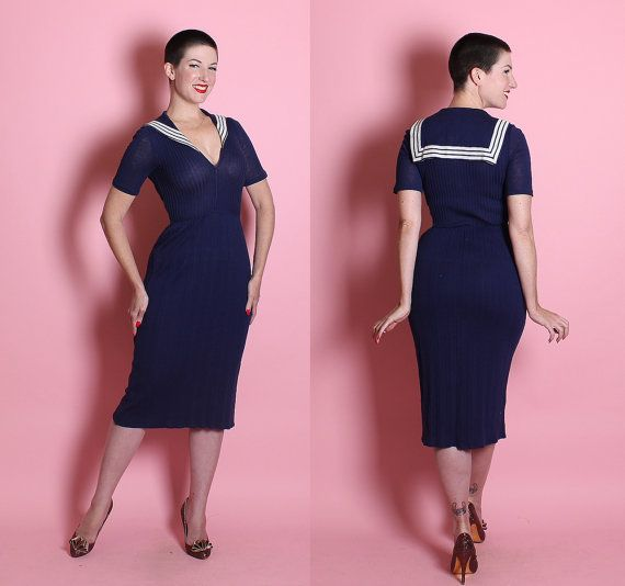 DESIGNER 1950's Midnight Blue Knit Extreme by butchwaxvintage