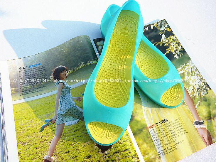 Прозрачные Кали Ма Lizhen отверстие обувь пляжные сандалии плоские с сахаром желе обуви голова рыбы женская обувь лето просвет - Taobao