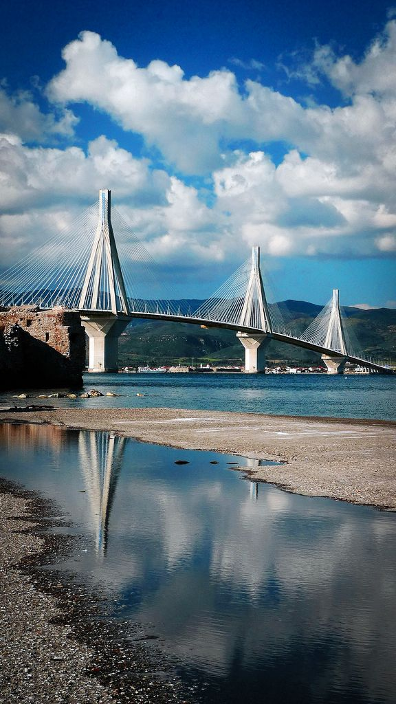The Rio-Antirio Bridge (Greek: Γέφυρα Ρίου-Αντιρρίου), officially the Charilaos Trikoupis Bridge, is the world's longest multi-span cable-stayed bridge. It crosses the Gulf of Corinth near Patras, linking the town of Rio on the Peloponnese to Antirio on mainland Greece. It even has a bicycle lane.