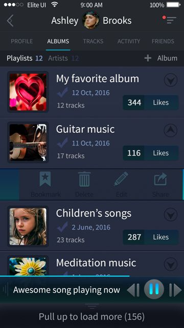 Beautiful albums screen for a music app. Visit our site for more awesome UI designs!