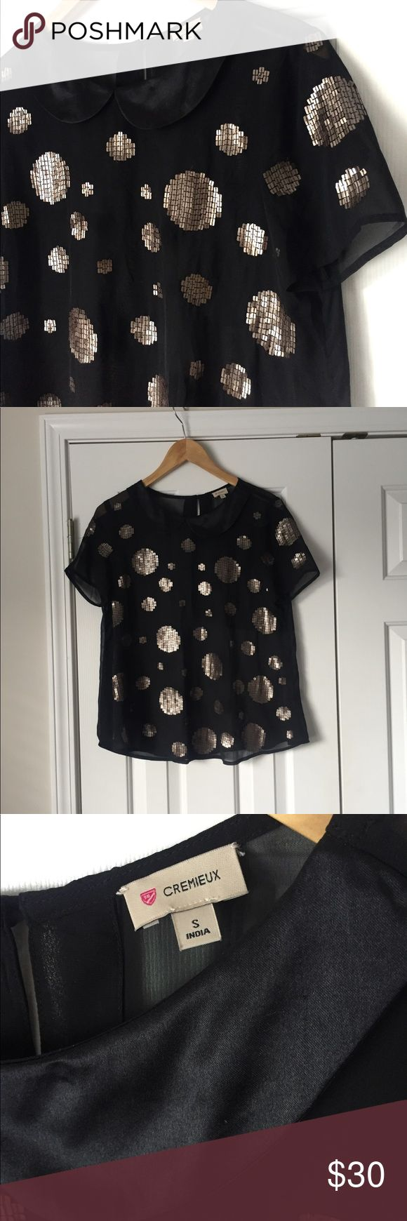 Cremieux short sleeve sheer top bronze polka dot In excellent condition. Size small. Bronze sequins. Polka dots. Black sheer material. Peter Pan collar. Loose fitting. Daniel Cremieux Tops Blouses