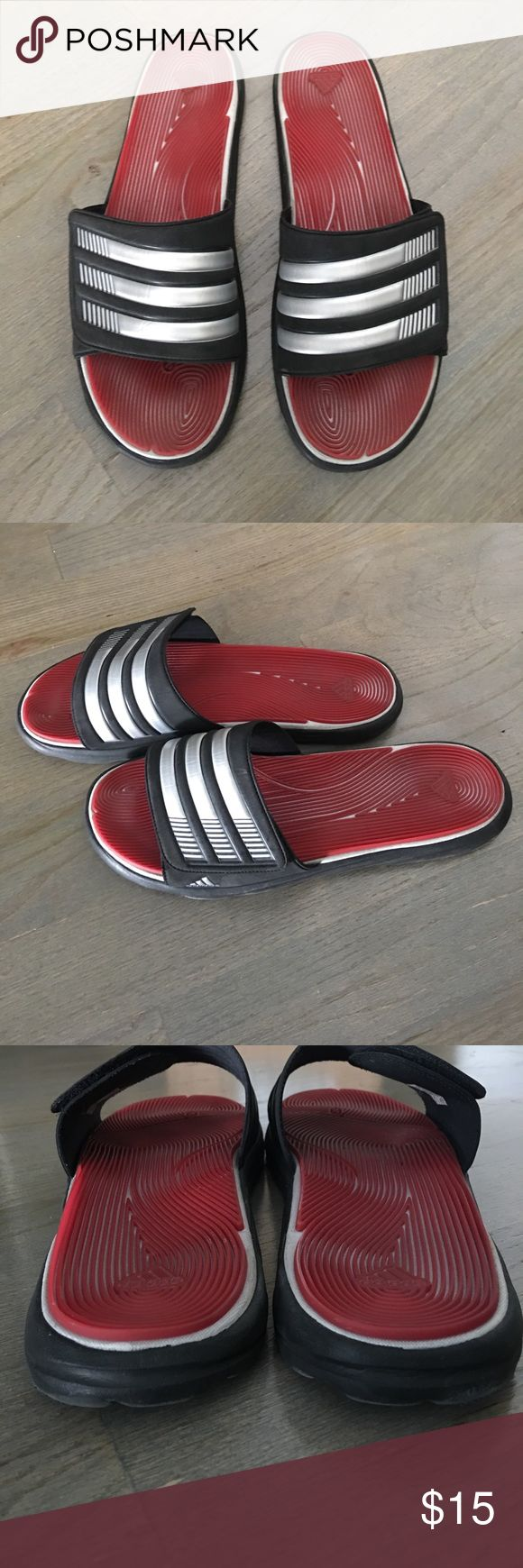 Men's Adidas flip flops Men's red and black adidas flip flops. Lightly worn. In great condition. adidas Shoes Sandals & Flip-Flops