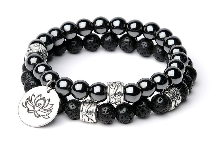 """Bella.Vida Mens Bracelet 8mm Natural Lava Stones and Hematite Therapy Bead Double Elastic Stretch with Lotus Charm Men Size 8"""""""