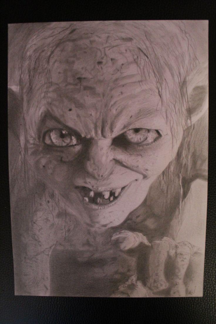 Dessin r alis aux crayons graphite repr sentant gollum du film le seigneur des anneaux - Tatouage seigneur des anneaux ...