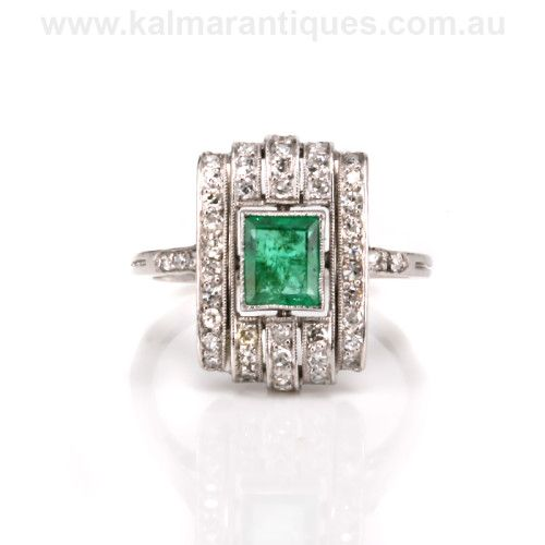 Platinum Art Deco emerald and diamond ring