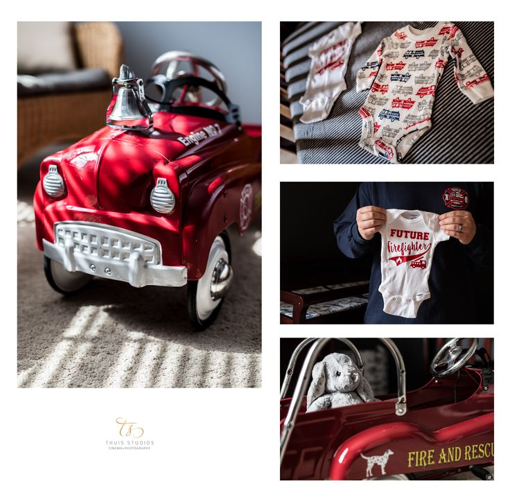 Toys for new little boys! #lifestyle #photography #maternity #onesie #firetruck #firefighter #thuisstudios