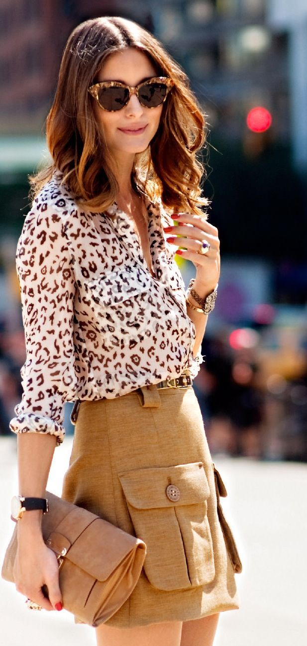 Olvia Palermo animal print top