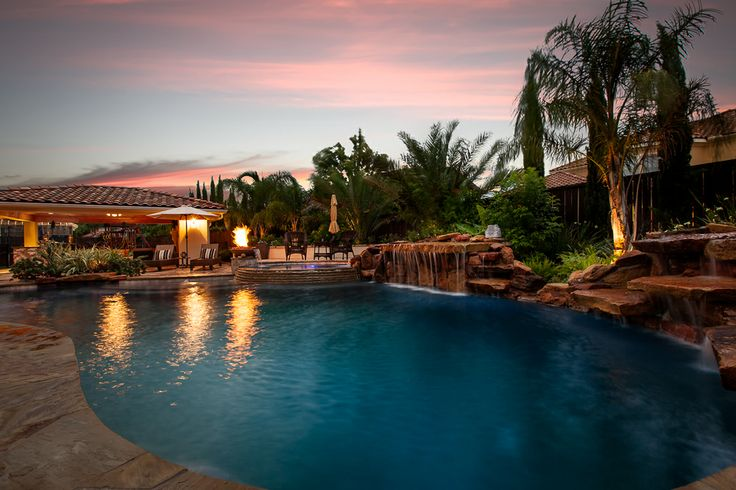 """Mediterranean Style Pool Spa and Waterfall with Outdoor Kitchen and entertaining Area. """"Designed & Built By"""" Downunda Aquatic Environments"""