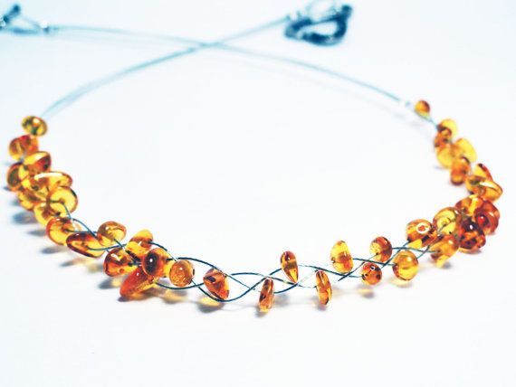 Amber necklace  woven amber necklace  amber by handmadeintoronto, $39.00