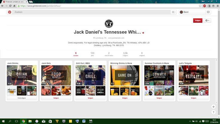 https://www.pinterest.com/jackdanielsus/  Jack Daniel's maakt gebruik van Pinterest om iets terug te doen voor hun trouwe fans. Ze gebruiken het dus eerder voor PR- als voor marketingdoeleinden. Hun borden bestaan onder andere uit drankjes met whiskey en recepten met whiskey. Ik vind dit een zeer leuke manier van de onderneming om met dit platform om te springen. Hun profiel ziet er ook zeer clean en professioneel uit.