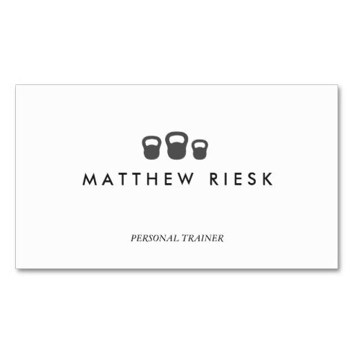 Kettle Bell Personal Trainer Fitness White 2 Business Cards