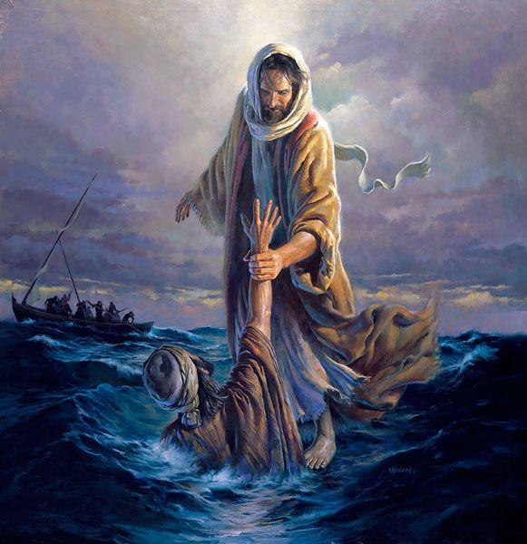 Jezus pakt Petrus vast.