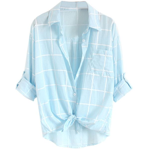 Choies Sky Blue Plaid Print Roll Up Sleeve Semi-sheer Shirt ($18) ❤ liked on Polyvore featuring tops, shirts, blouses, blue, camisas, roll sleeve shirt, shirts & tops, roll up shirt, blue shirt and plaid top