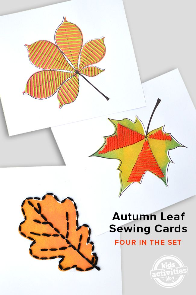 Fun set of four little free printable autumn leaf sewing cards, a fun activities for young children to learn about leaves changing color in the fall,