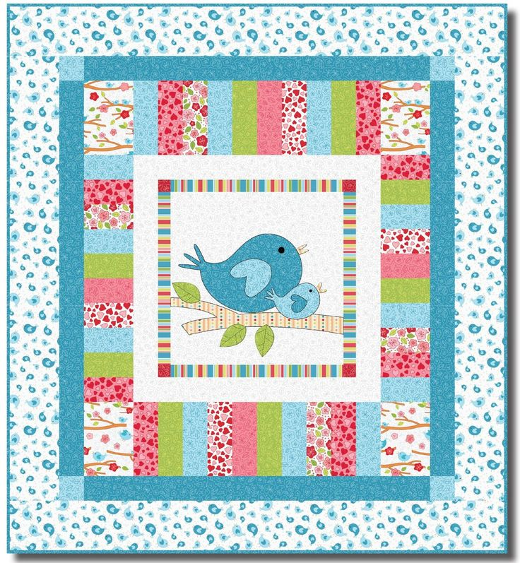 """= free pattern = Lovebirds quilt, 40 x 44"""", by Heidi Pridemore for RJR Fabrics (includes bird templates). Featured at Quilt Inspiration."""