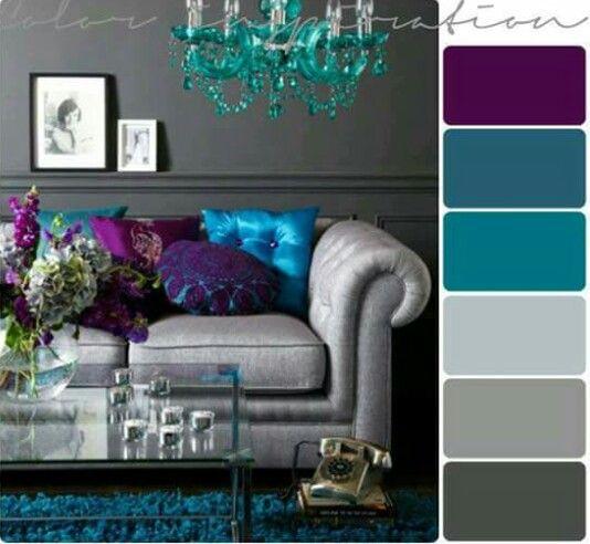 Sala en gris y su paleta de colores