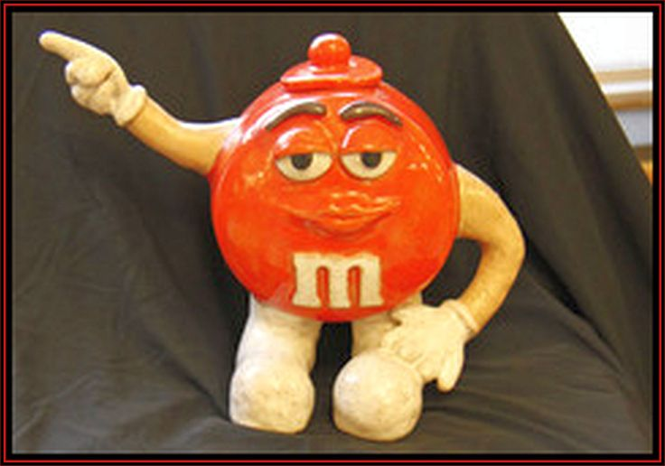 Orange M and M Teapot Ceramic Sculpture