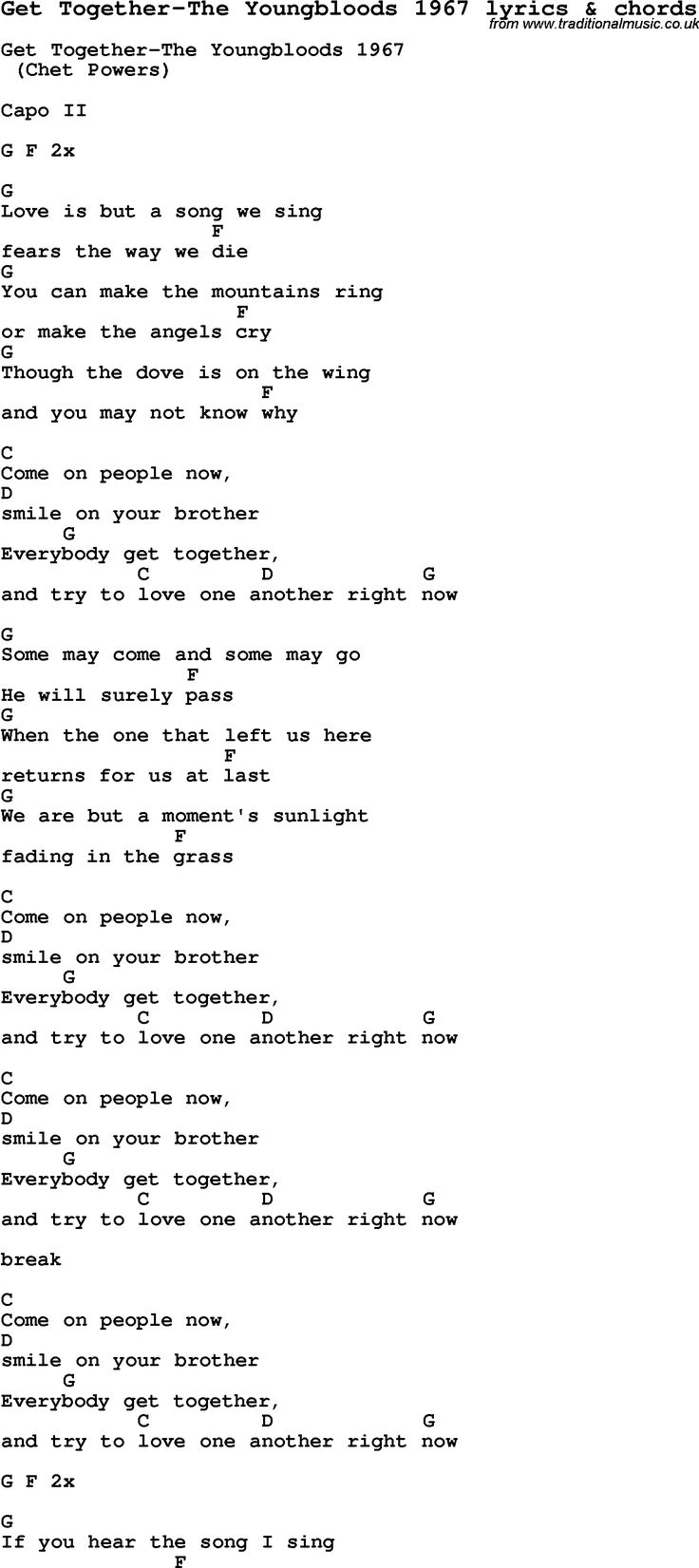 252 best music images on pinterest lyrics music and couple love song lyrics for get together the youngbloods 1967 with chords for ukulele guitar banjo etc hexwebz Images