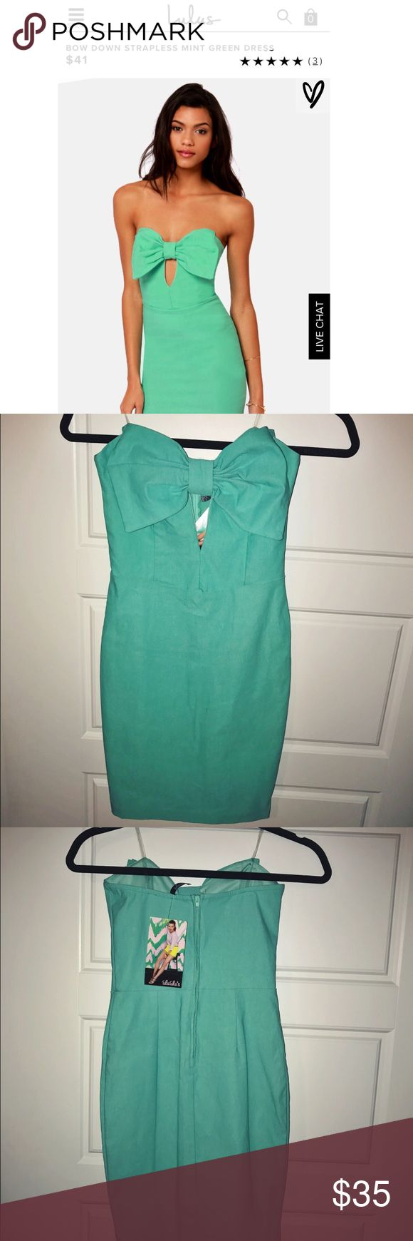 NWT💚 Mint green bowed bodycon! NEVER WORN still with tags - from Lulus website! Bow Down Strapless Mint Green Dress! Stretchy woven material for a body-con fit,m with a large bow across the strapless bustline. Hidden back zipper. Front of bodice is lined. 74% Rayon, 22% Nylon, 4% Spandex. Great for any night out, extreme flattering! 💚 Lulu's Dresses Mini