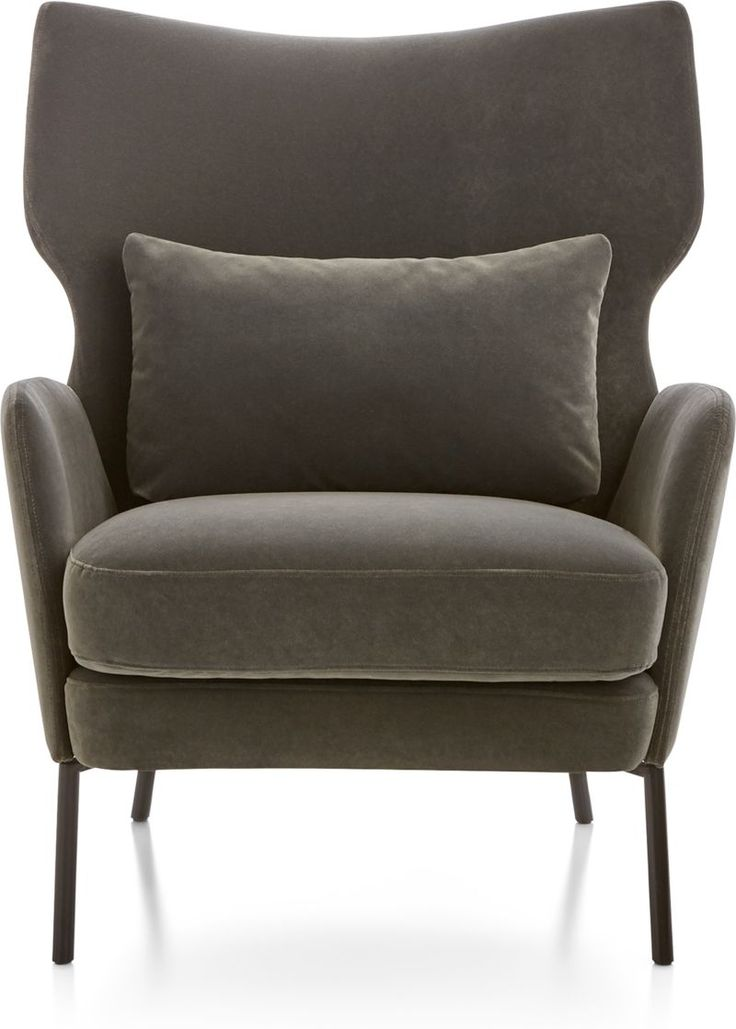 Alex Grey Velvet Accent Chair + Reviews Crate and Barrel