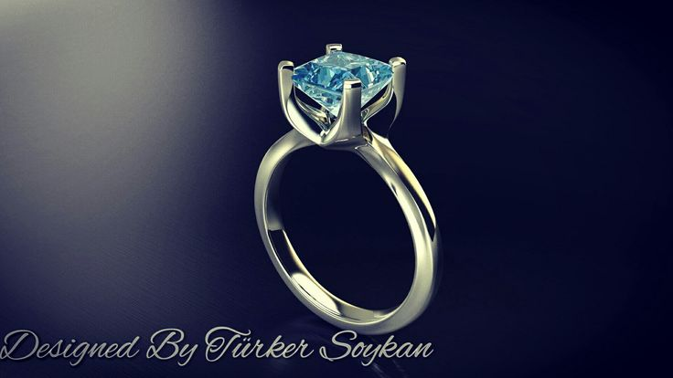 Available now ! 18k white gold solitaire ring with 1.60 ct. Princess cut blue diamond. Contact me for price.