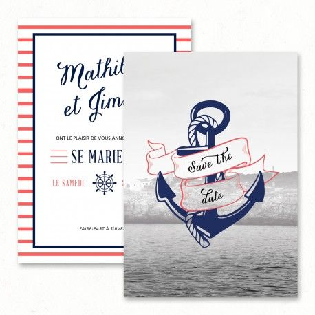 "Wedding save the date - ""Sailor"", navy, anchor, sea, travel, vintage, original…"