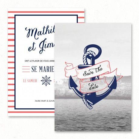 "Wedding save the date - ""Sailor"", navy, anchor, sea, travel, vintage, original…"